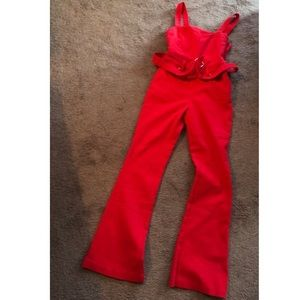 Forever 21 Red Belted Bell Bottom Overalls.SM NWT